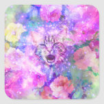 Girly Kitten Cat Romantic Floral Pink Nebula Space Square Sticker