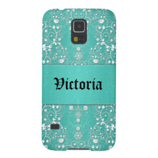 Girly Lacy Damask in Teal and White Galaxy S5 Covers