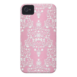 Girly Lacy Damask Pink and White Case-Mate iPhone 4 Case
