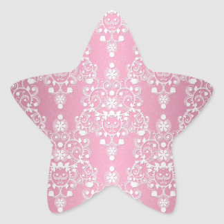 Girly Lacy Damask Pink and White Star Sticker