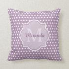 Girly Lavender Purple Polka Dots Monogram and Name Cushion