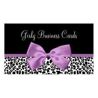 Girly Leopard Print Boutique Cute Light Purple Bow Business Card Templates