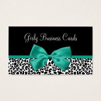 Girly Leopard Print Emerald Green Ribbon