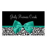 Girly Leopard Print Emerald Green Ribbon Business Card Template