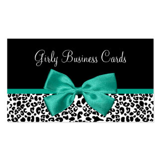 Girly Leopard Print Emerald Green Ribbon Pack Of Standard Business Cards