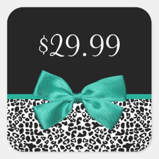 Girly Leopard Print Emerald Green Ribbon Price Tag