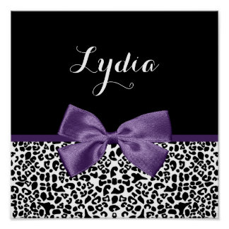 Girly Leopard Print Pretty Purple Ribbon With Name