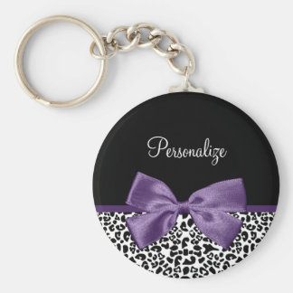 Girly Leopard Print Pretty Purple Ribbon With Name Basic Round Button Key Ring