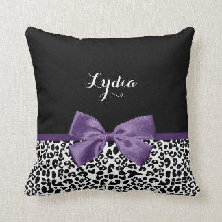Girly Leopard Print Pretty Purple Ribbon With Name Throw Pillow