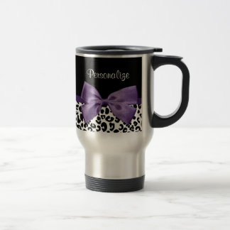 Girly Leopard Print Pretty Purple Ribbon With Name Travel Mug