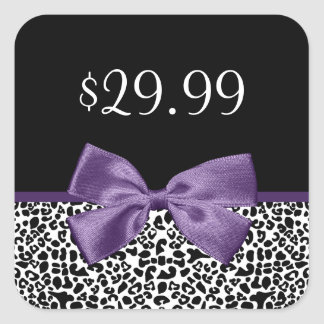 Girly Leopard Print Trendy Purple Bow Price Tags Square Sticker