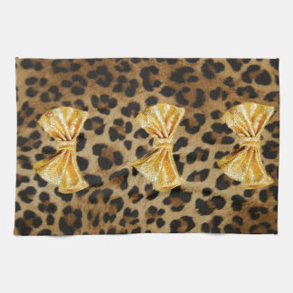 Girly Leopard Print With Gold Bling Bows Tea Towel
