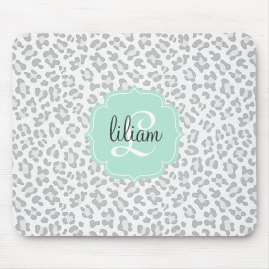 Girly Leopard Silver and Mint Green Personalised Mouse Pad