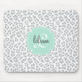 Girly Leopard Silver and Mint Green Personalized Mousepads