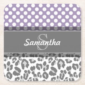 Girly Leopard Spot Print Pattern Custom Monograms Square Paper Coaster