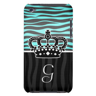 Girly light blue and black zebra print monogram iPod touch Case-Mate case