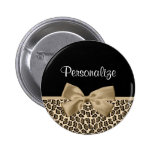 Girly Light Brown Jaguar Cute Brown Bow With Name 6 Cm Round Badge