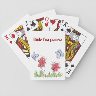 Girly-like flower and butterfly drawing poker deck