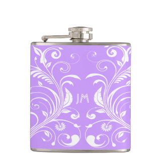 Girly lilac monogrammed floral PERSONALIZE Hip Flask