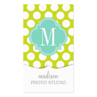 Girly Lime & Pink Big Dots Monogrammed Business Cards