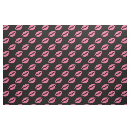 Girly Lips Hot Pink And Black Kiss Pattern