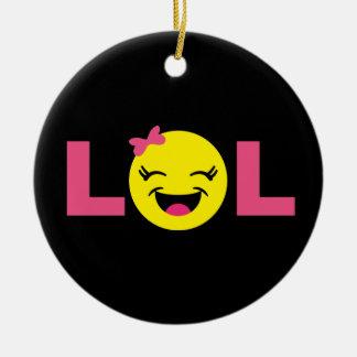 Girly LOL Emoji Christmas Ornament