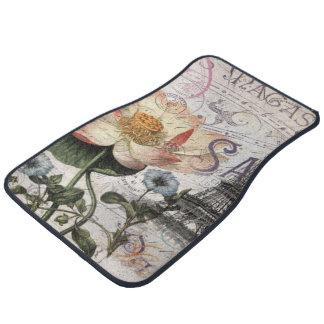 girly lotus flower vintage paris eiffel tower car mat