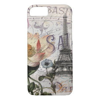 girly lotus flower vintage paris eiffel tower iPhone 8/7 case