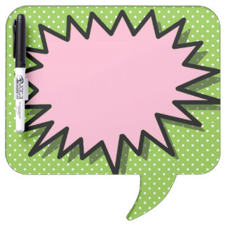 GIRLY LOUD SPEECH BUBBLE ERASE BOARD, PINK GREEN DRY ERASE BOARD
