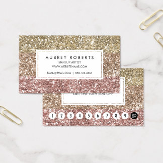 Girly Loyalty Punch Card Faux Rose Gold Glitter