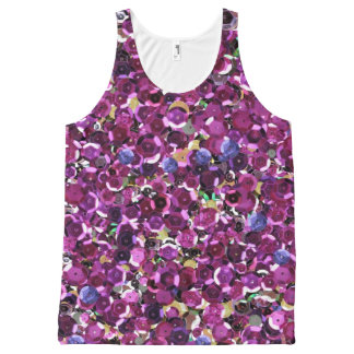 Girly Magenta Pink Faux Sequins All-Over Print Tank Top