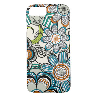 Girly Mehndi Floral Design, Teal iPhone 8/7 Case