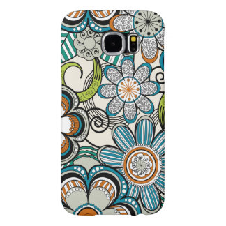 Girly Mehndi Floral Design, Teal Samsung Galaxy S6 Cases