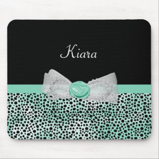 Girly Mint Cheetah Print Cute Rose Bow and Name Mouse Mat