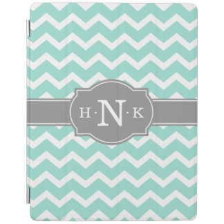 Girly Mint Chevron Grey Monogram iPad Cover