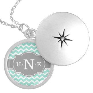 Girly Mint Chevron Grey Monogram Locket Necklace