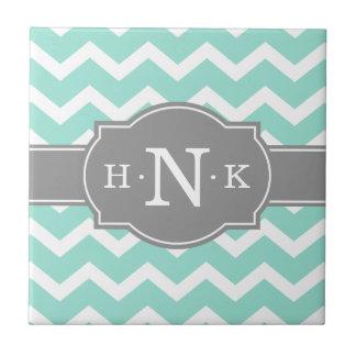 Girly Mint Chevron Grey Monogram Small Square Tile
