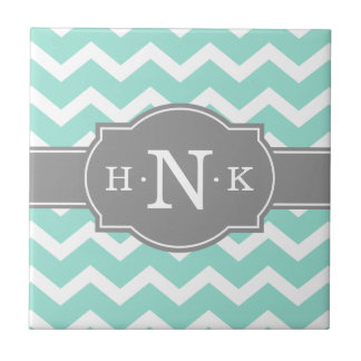 Girly Mint Chevron Grey Monogram Tile