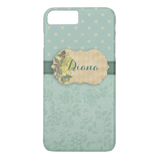 Girly Mint Floral Personalised iPhone 8 Plus/7 Plus