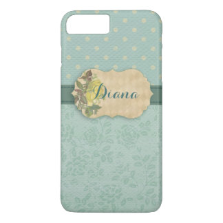 Girly Mint Floral Personalized iPhone 7 Plus Case