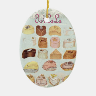 girly mint green french dessert sweet chocolate christmas ornament