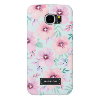 Girly Mint Pink Lavender Watercolor Floral Custom Samsung Galaxy S6 Cases