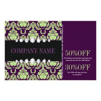 girly Mint purple Damask beauty salon fashion 14 Cm X 21.5 Cm Flyer