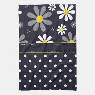 Girly Mod Daisies and Polka Dots Tea Towel