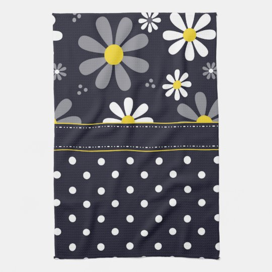 Girly Mod Daisies and Polka Dots Tea Towel