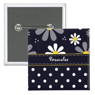 Girly Mod Daisies and Polka Dots With Name 15 Cm Square Badge