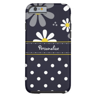 Girly Mod Daisies and Polka Dots With Name Tough iPhone 6 Case
