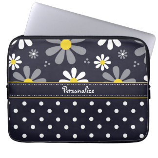 Girly Mod Daisies and Polka Dots With Name Computer Sleeves