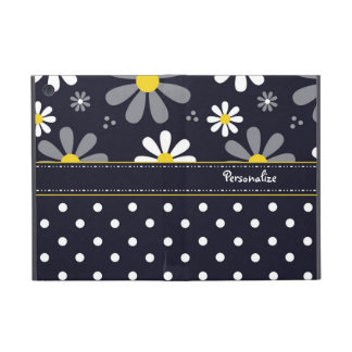 Girly Mod Daisies and Polka Dots With Name Cover For iPad Mini