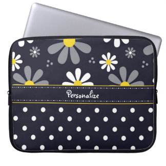Girly Mod Daisies and Polka Dots With Name Laptop Sleeve